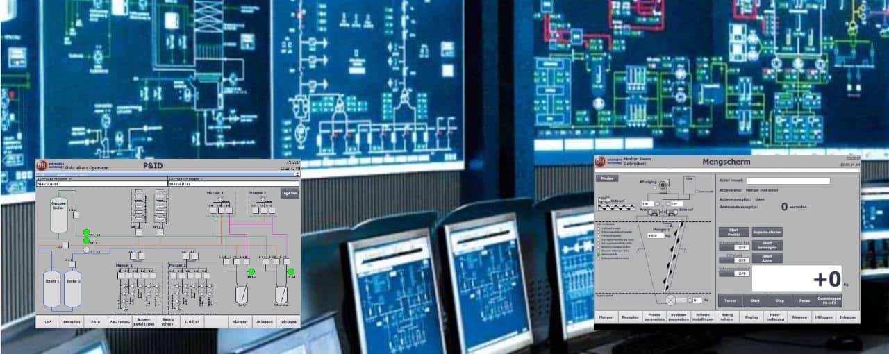 IA HMI Scada operator stations control room, supervisor control and data aquisition